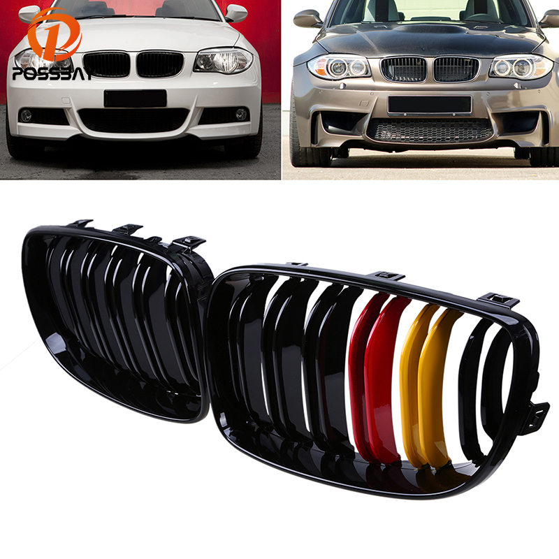 POSSBAY Easy Installation Racing Grilles Car Front Kidney Grille Painting Gloss Black Fit for BMW 1