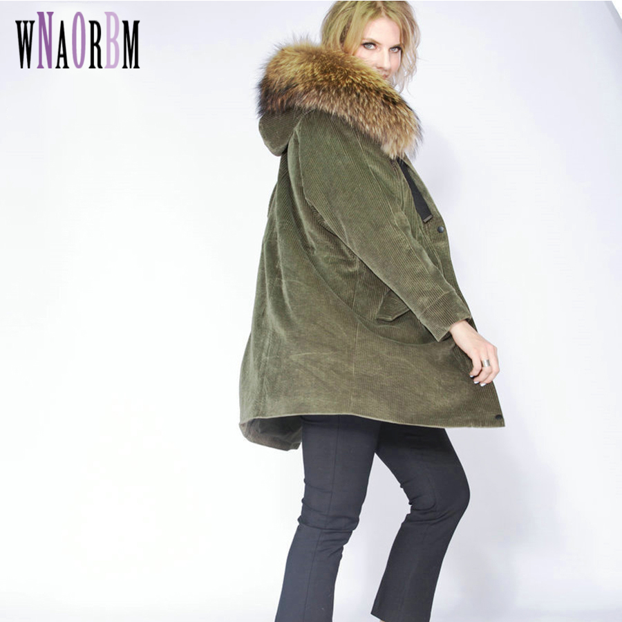 2018 Long Winter Jacket Women Outwear Thick Parkas Raccoon Natural Real Fur Collar Coat Hooded Real Warm Lamb Fur Liner