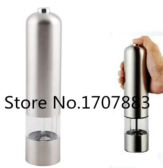 New Stainless Steel Electric Kitchen Tool Spice Sauce Salt Pepper Mill Grinder portable stainless steel electric pepper spice salt milling grinder red silver 6 x aaa