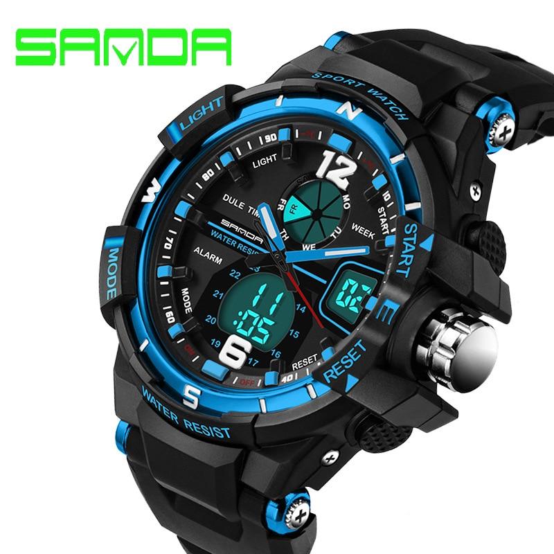 2018 New Brand SANDA Sport Horloge Heren Waterproof Militair Sport Horloges Herenhorloge Luxe Led Digitale Klok Relogio Masculino