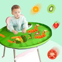 Foldable Kids Dining Chair Cover Solid Color Portable Eating Mats Dining Bib Tray Anti food Drop Baby Bib For Children