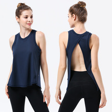 Navy Sexy Backless Women Yoga Top Sport Shirt Gym Sleeveless Running T Workout TShirt
