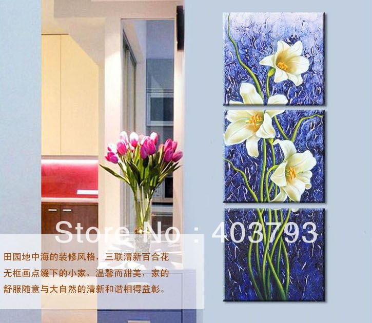 120cmX40cm hand painted Modern Oil Painting On Canvas park style lily flower landscape decoration No frame free shipping in Painting Calligraphy from Home Garden
