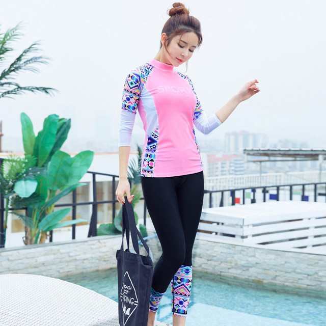 b0c5a685fab56 Muslim Women s Swimsuit Full Covered Surfing Swimming Suit Long Sleeve Rash  Guard Women Swimwear With Leggings Two Piece Suits