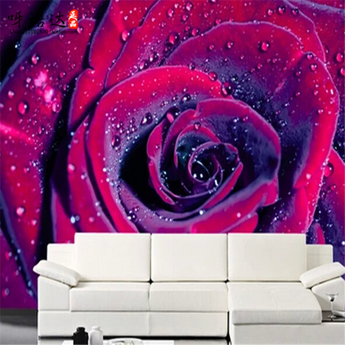 8d Water drop Purple Flower Rose Mural 3d wall Papel photo mural Wallpaper for living room sofa background 3d wall mural papel 3d purple lilies flower mural photo wallpapers roll for living room home wall decor lily floral wallpaper wall 3 d papel pared