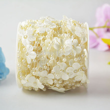 A Roll 30 Meters Fishing Line White Beige Pearl Beads Garland 4mm Pearl Beads String With Flower Petal Christmas Home Decoration