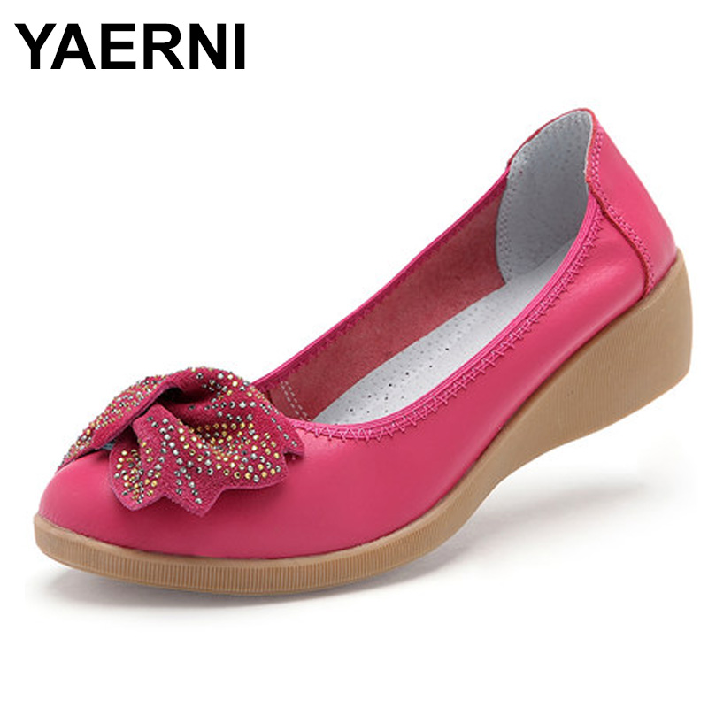 YAERNI 2018 Loafers Comfortable Women Genuine Leather Flat Shoes Woman Casual Nurse Work Shoes Women Flats women flats new fashion women genuine leather flat shoes woman bow casual shoes comfortable soft outsole loafers women shoes