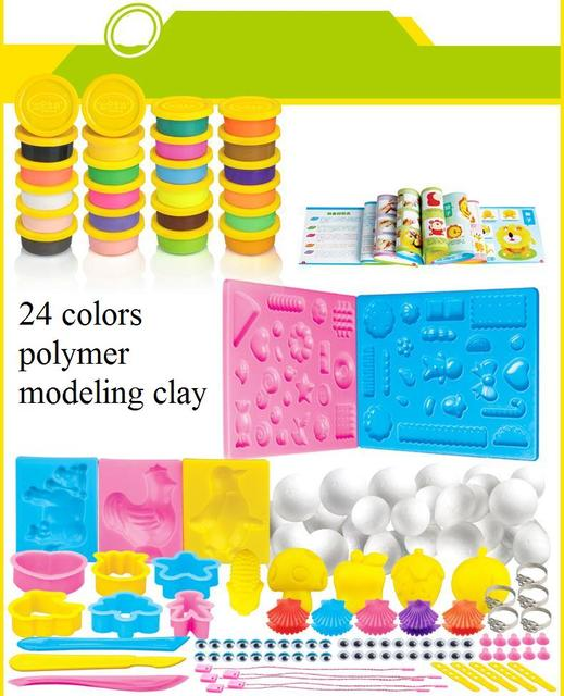24 colors kids colored modeling polymer clay / soft Plasticine/ playdough with tools and mannal for children educational toys