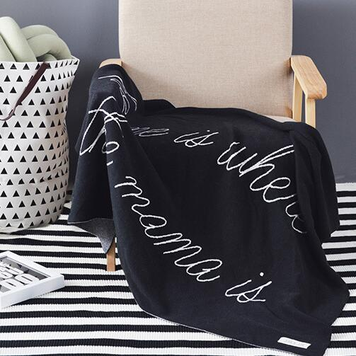 90X120CM Cotton Knitted Throw child baby Blanket blanket throw Home Cover Black home is mama home travel bed sofa Use FG710