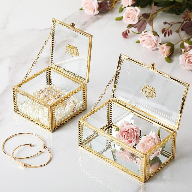Jewelry-Box Cosmetic-Storage-Box Gold Small Luxury Light Finishing-Box Crown Dust-Proof