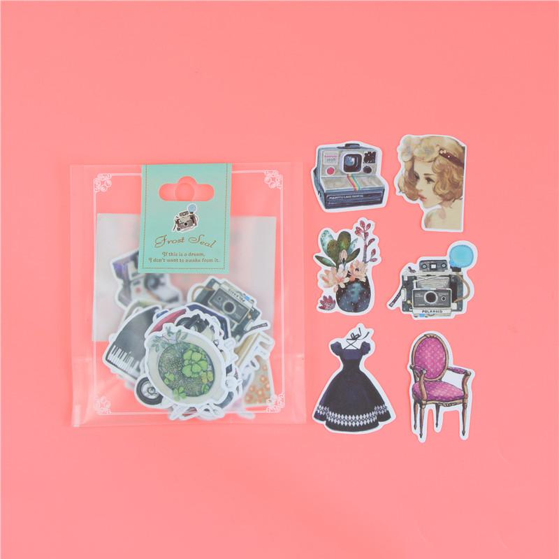 1 пакет, милые Мультяшные декоративные наклейки в Корейском стиле, клейкие наклейки, скрапбукинг, сделай сам, декоративные наклейки для дневника - Цвет: P