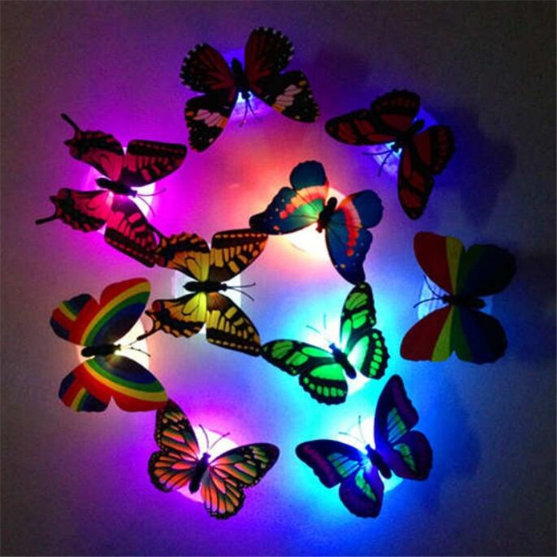 3d Led Light Night Atmosphere Lamp With Glow Colorful Butterfly Indoor Light Self Adhesive Pad Home Party Wall Stickers Decor