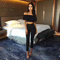 2017 Spring and Summer Sexy Women Off Shoulder Two Piece Set Slash Neck Draped Elastic Waist Short Sleeve Tops and Pants