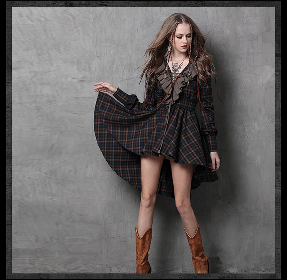 Vintage Autumn Elegant Plaid Women Dress Tunic 90% Cotton Dress Women Long Sleeve Ruffles Vestidos Femininos Vintage Dresses (10)