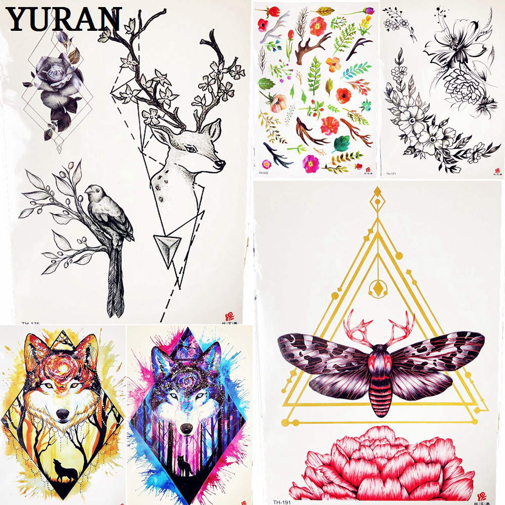 US $0 93 |Geometric Deer Horn Moose Temporary Tattoo Flower Moth Triangle  Water Transfer Tattoo Stickers For Sexy Women Makeup Party Tips-in  Temporary