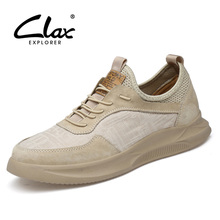 CLAX Mens Leather Shoes Fashion 2019 Summer Mesh Casual Shoe Male Walking Footwear Mans Sneakers Breathable