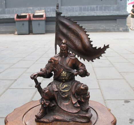 xd 001570 China Red Bronze Sit hill banner Guan Gong Hold Sword Dragon warrior statue
