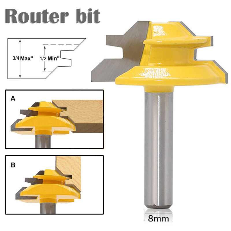 1Pc 45 Degree Lock Miter Router Bit 8*1-1/2 Inch Shank Woodworking Tenon Milling Cutter Tool Drilling Milling For Wood Carbide 2pcs 120 degree lock router bit woodworking 1 2 shank frame tenon stitching milling cutter tool groove chisel engraving machine