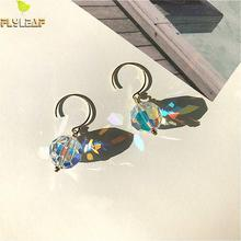 100% 925 Sterling Silver Earrings  For Women Fashion Jewelry Colorful Light Cubic Zirconia Gold Drop High Quality