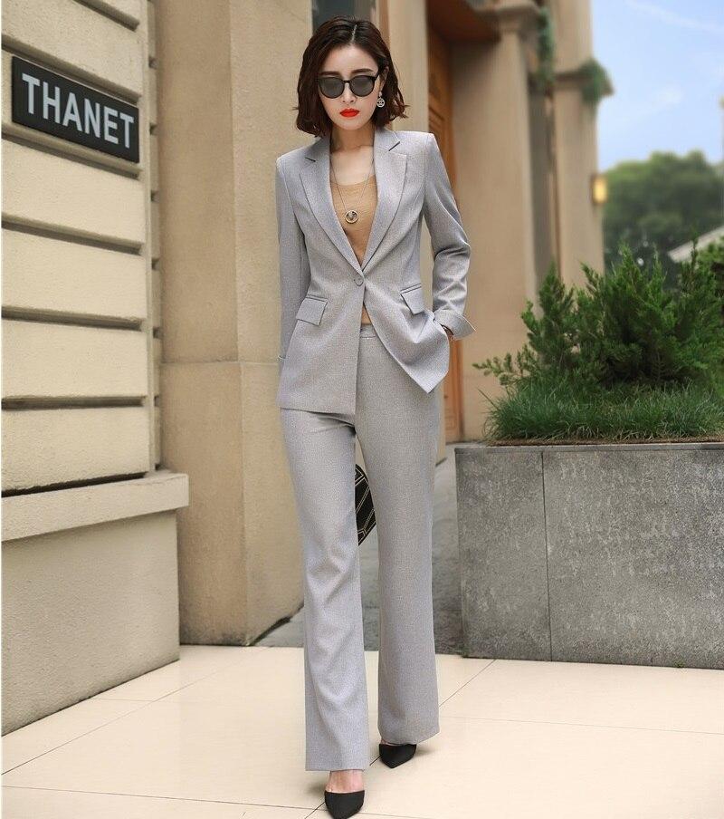 b694657d5c56 Formale Pantalone Stili Grigio Dei lavanda Modo Lavoro Femminile Blazer Di  Rosa Con Pantaloni Vestiti Tailleur Donna ...