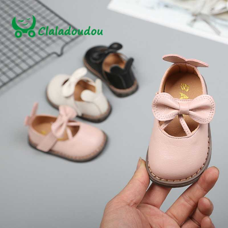 Foot 10.5-15CM 2019 Spring Little Girls Women Pure Pu Leather Shoes Black Beige Pink Strap Butterfly Princess Shoes Infant Flats