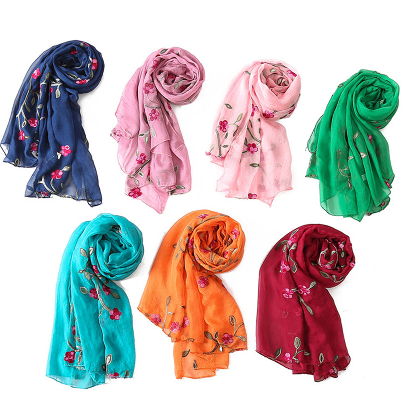 16colors silk   scarf   spring winter women embroidery flower print   scarves   shawl beach stoles rose green red orange head   wraps   2019