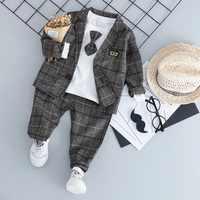 Juego de ropa Formal para bebé, moda para niño, corbata de trajes de alta calidad, ropa para niño de 1, 2, 3 y 4 años, otoño y primavera