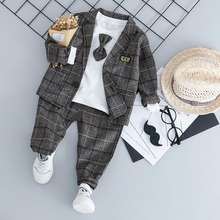 Baby Boy Fashion Formal Clothing Set Kid Tie Suits High Quality Autumn Spring Children Clothes 1 2 3 4 Years