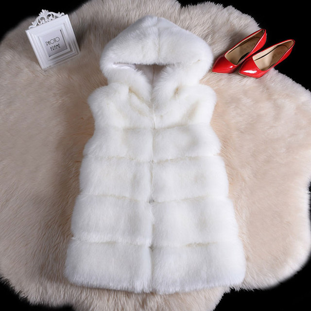 Women Thickened Vest Imitation Mink Hair Fox Fur Coat Female Waistcoat Straight Elegant Warm Outwear Clothing With Long Fur Cap