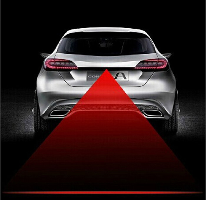2016 Newest Anti Collision Rear-end Car Laser Tail Fog Light Auto Brake Parking Lamp Rearing Warning Light Car Styling car styling quadrangle anti collision rear end car laser tail 12v led car fog light auto brake lamp rearing car warning light