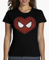 Summer Time Limited T Shirts Girl Spidey Love Short O Neck Fashion Cotton Hip Hop Women