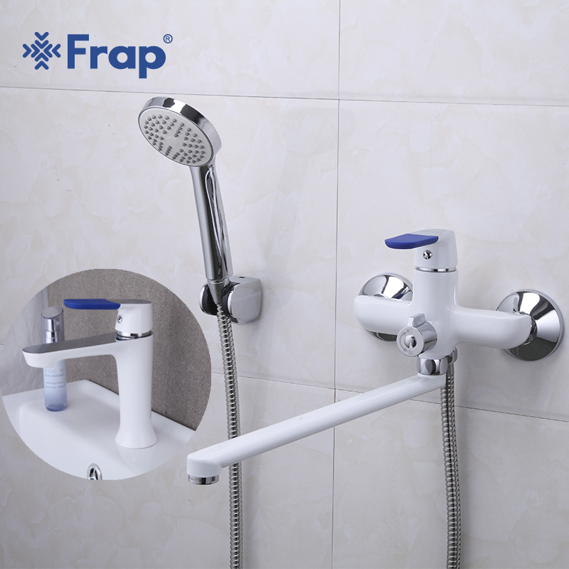 Frap Hot Classic 1 Set Whit Spary Painting Bathroom Bathtub Shower Faucet with Basin Tap Mixer