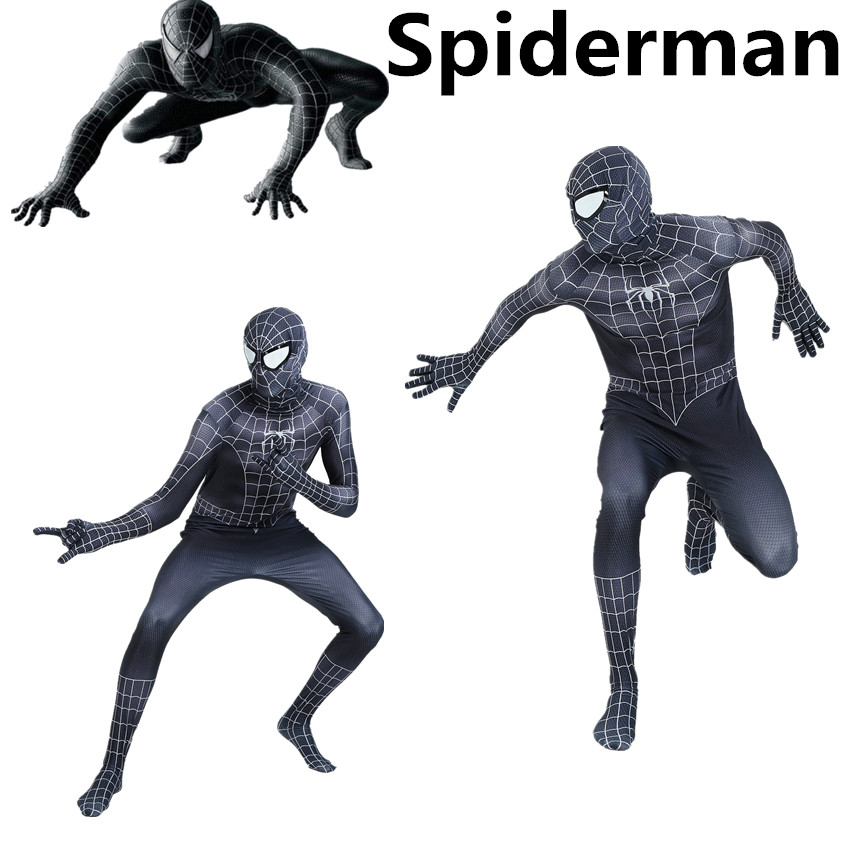 Black Spiderman Venom Suit Cosplay Costume Clothing Adult Kids Halloween Party Zentai Mask Bodysuit Jumpsuits
