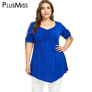 PlusMiss Plus Size 5XL XXXXL XXXL Lace Up Sleeve Tunic Tops Women Big Size Blue Vintage Retro Asymmetrical Long Blouse Ladies