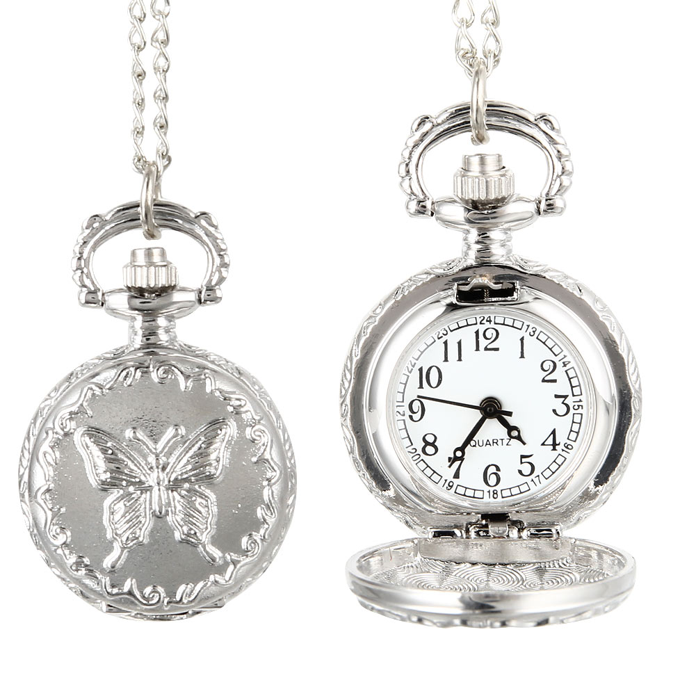 Fashion Vintage Quartz Pocket Watch Alloy Flowers Butterfly Women Lady Girls Necklace Pendant Sweater Chain Clock Gifts
