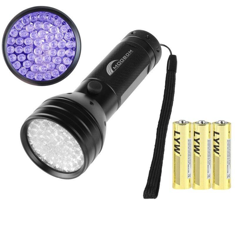 3 AA Aluminium 51 LED UV Ultra Flashlight Invisible Blacklight Stain Detection Purple Mini Portable Torch Light