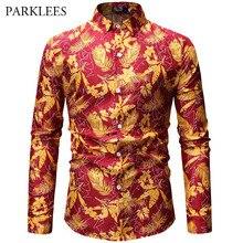 b0f062fae703 Moderno Mens Camisa Do Feriado 3D Folhas de Ouro Print Floral Masculino  Vermelho Vestido Camisas de