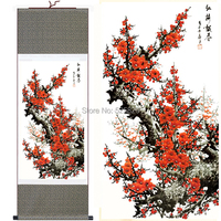 Most Beautiful Traditional Chinese Painting Of Silk Scroll Plum Blossom Painting For Living Room Decoration