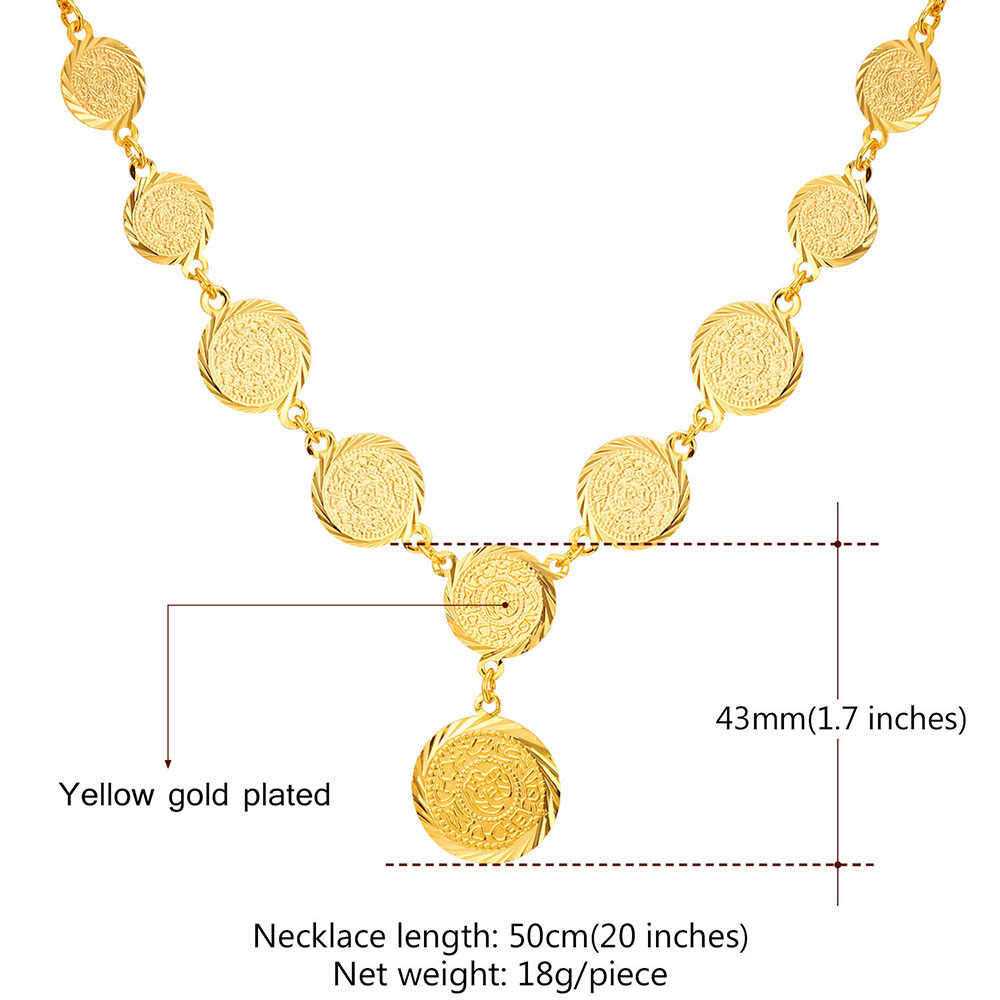 Kpop תכשיטי שרשרות תליון כסף מטבע עתיק צבע זהב צהוב סמל ערבית האיסלאם מסתורי בציר חדש לנשים N211