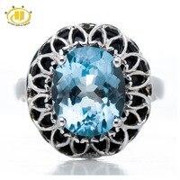 Hutang Punk Diamant-Schmuck 5.65Ct Echte Blautopas Ringe Frauen Schwarz Achat 925 Sterling Silber Ring Schmuck Cocktail Anel