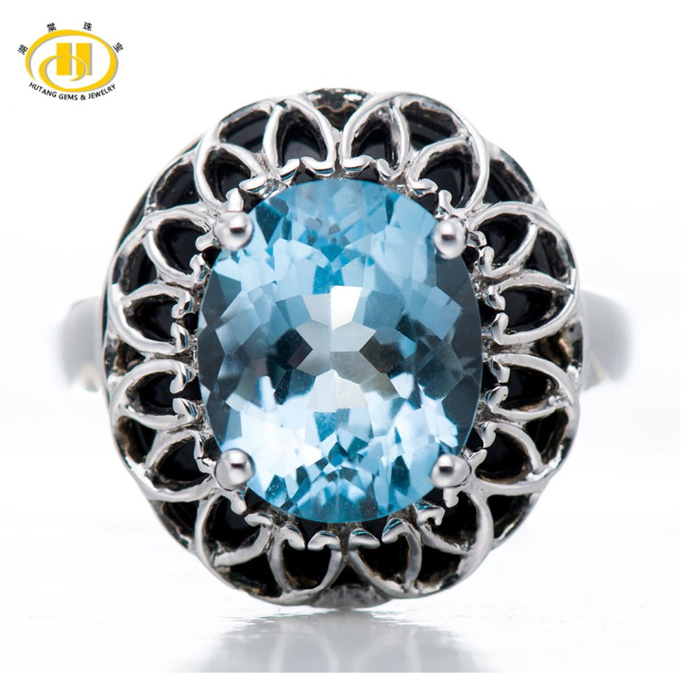 Hutang Punk Diamond-Jewelry 5.65Ct Genuine Blue Topaz Rings Women Black Agate 925 Sterling Silver Ring Jewellery Cocktail Anel