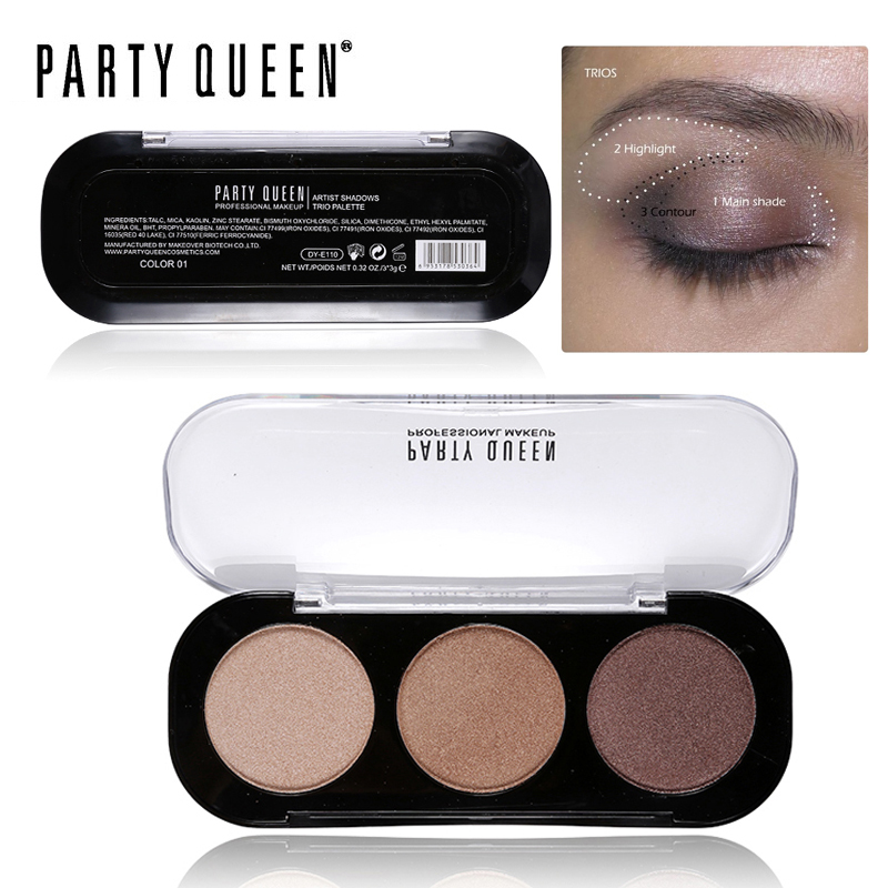 Party Queen 8Style Shimmer Matte Bronze Trio Eyeshadow Palette High Pigment Nude Glamorous Smokey Natural Eye Shadow Makeup Kit