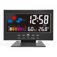 Electronic Digital LCD Desk Clock Temperature Humidity Monitor Thermometer Hygrometer Weather Forecast Table