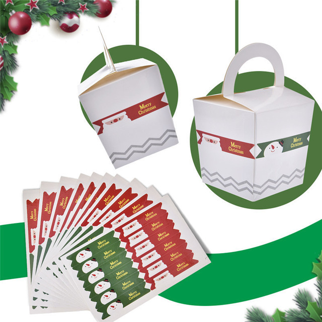 Us 1 24 27 Off 120pcs Marry Christmas Snowman Gift Boxes Bags Sealing Sticker Xmas New Year Gift Decorative Santa Claus Cake Label Stickers In Gift