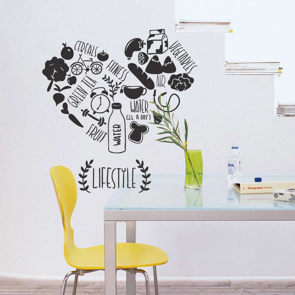 Creative Kitchen Vinyl Wall Decal Kitchen Lifestyle Fitness Vegetables Cafe  Food Dining Room Mural Wall Sticker Home Decoration In Wall Stickers From  Home ...