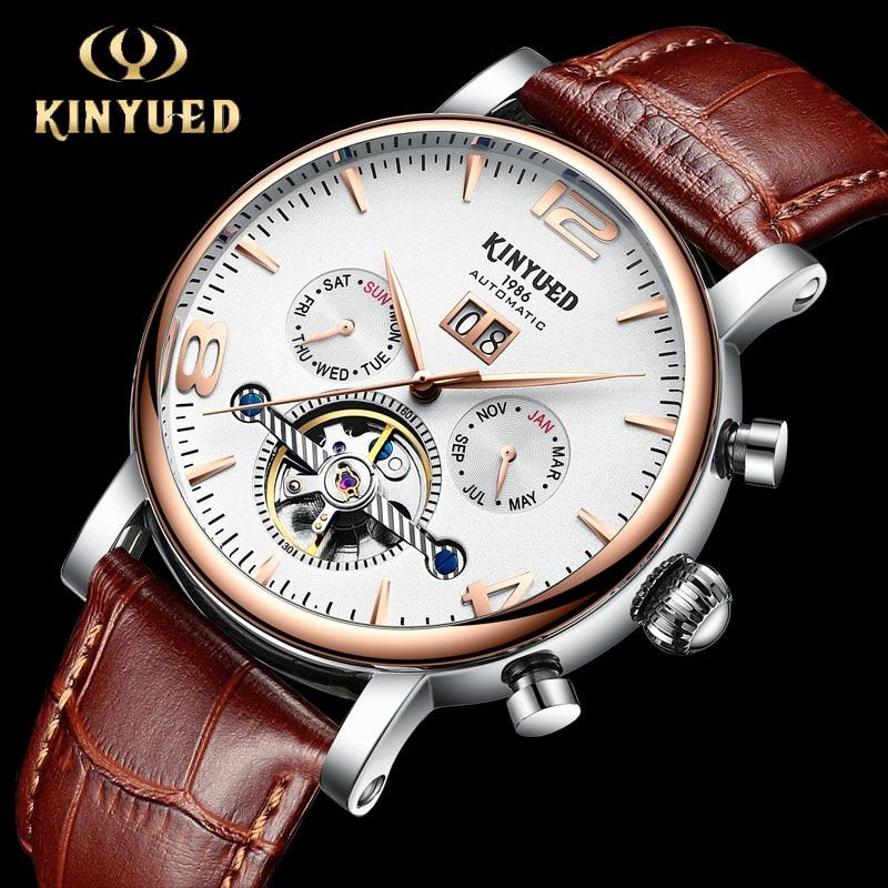 KINYUED Luxury Mechanical Automatic Men Watches Top Brand Military Tourbillon Watch Skeleton Man Calendar Rose Gold reloj hombre цена