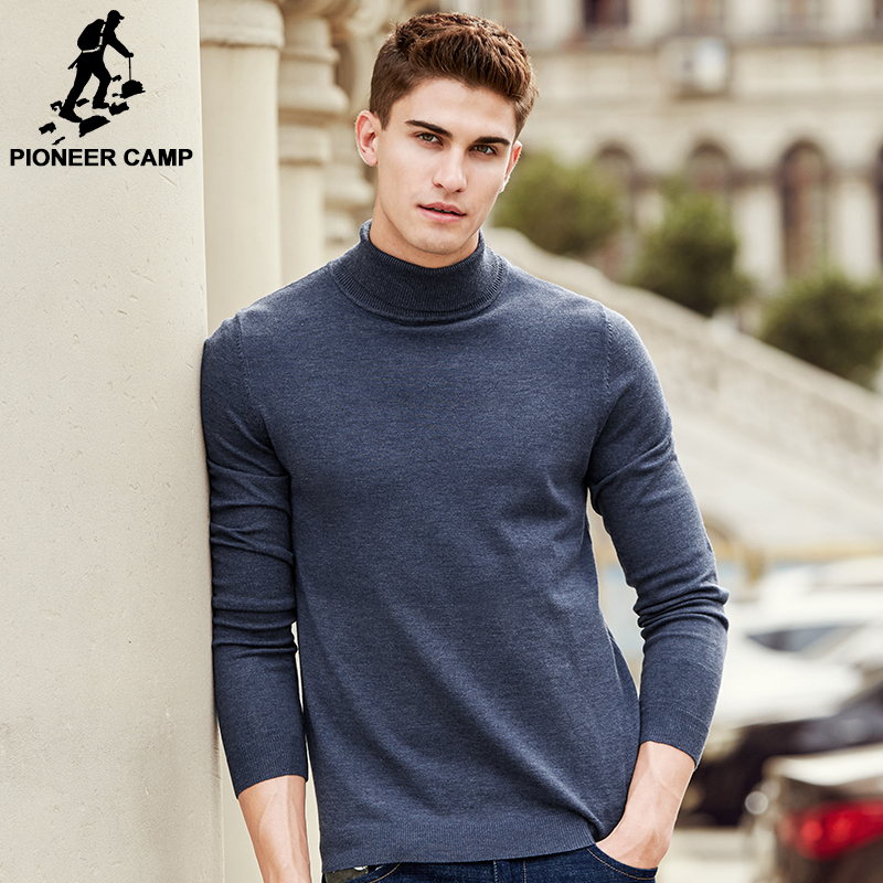 Pioneer Camp New autumn winter brand turtleneck sweater men top quality male slim fit solid knitwear