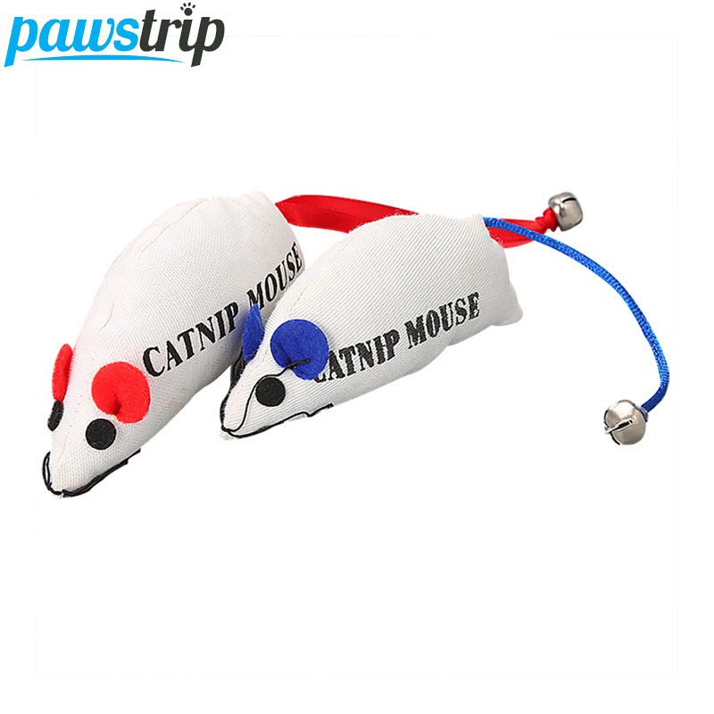 pawstrip 1pc 20cm Long Catnip Cat Toys Mouse Interactive Canvas Sponge Washable Cat Mouse Toys With Bell