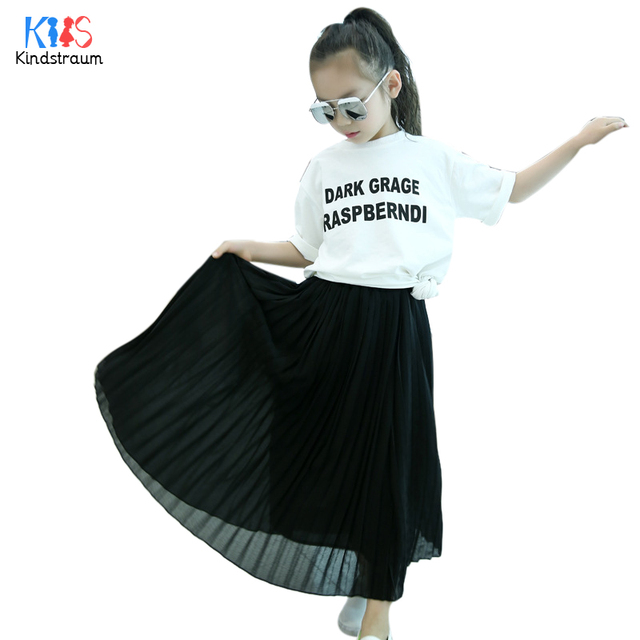 f1a71dd095 Kindstraum 2018 Spring Kids Pleated Skirt Summer Children Solid Cotton  Draped Skirt Casual Ankle-Length Wear for Girls,RC1116