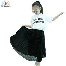Kindstraum 2018 Spring Kids Pleated Skirt Summer Children Solid Cotton Draped